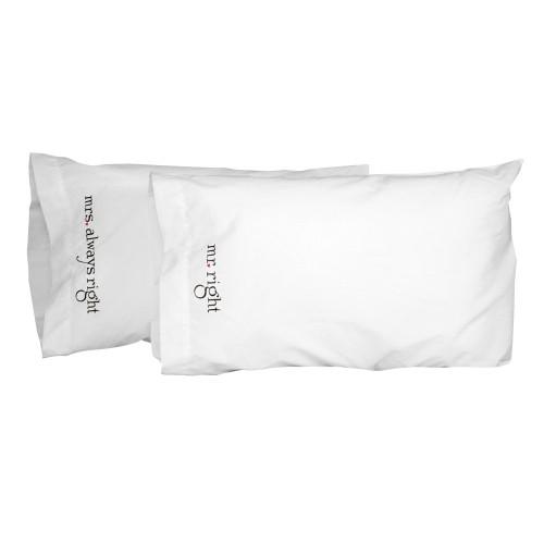 Hortense B. Hewitt Mr. and Mrs. Right Pillowcase Set, White