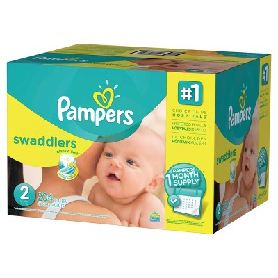 Pampers Swaddlers Diapers One Month Supply Pack Size 2 (204 ct)
