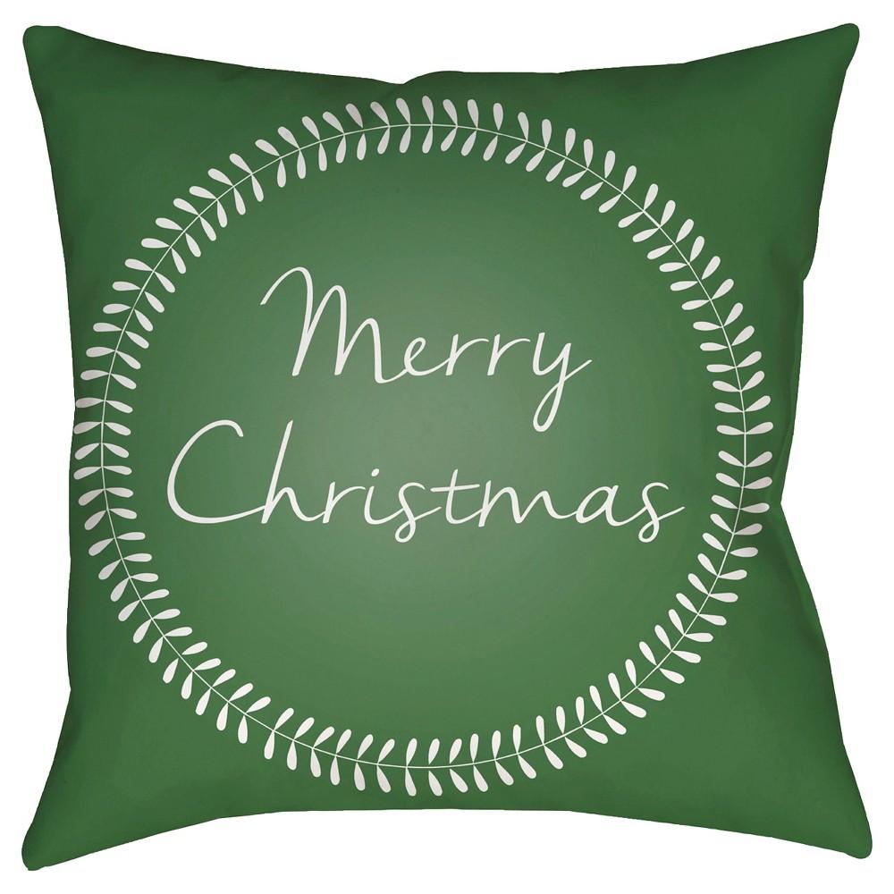 Green Christmas Card Throw Pillow 18