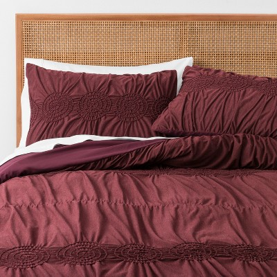 Burgundy Solid Ruched Jersey Duvet Cover Set (Full/Queen)- Opalhouse™