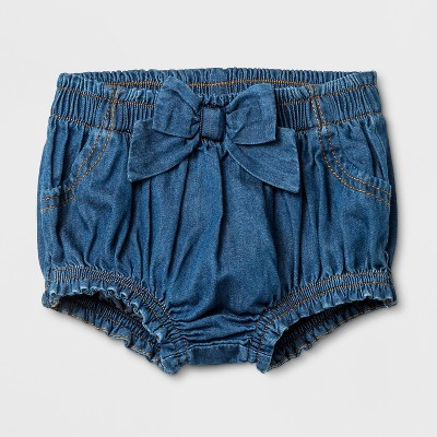 Baby Girls' Denim Wash Shorts - Cat & Jack™ Blue Newborn