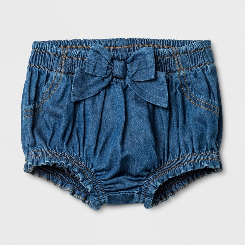 Baby Girls' Denim Wash Shorts - Cat & Jack™ Blue - image 1 of 1