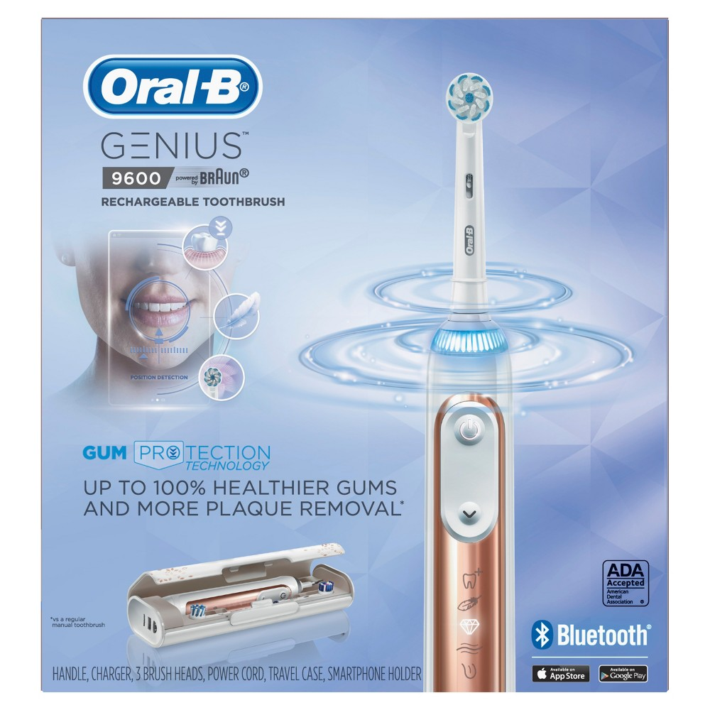 Oral-B Rose Gold Genius 9600 Rechargeable Electric Toothbrush Powered By Braun with JetSet Charger