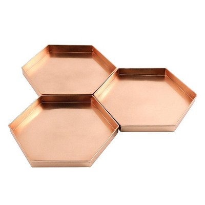 """9"""" 3pc Decorative Hexagonal Stainless Steel Trays Copper Plated Finish - ACHLA Designs"""