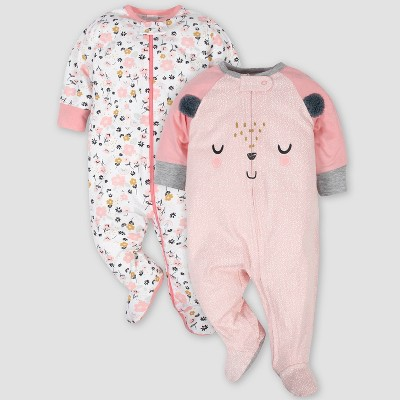 Gerber Baby Boys' 2pk Bear Sleep N' Play - Pink/White 0-3M