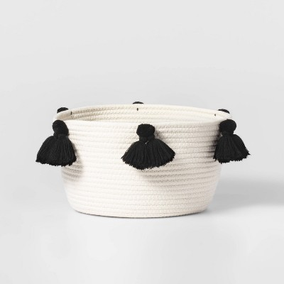 Small Coiled Rope Basket with Tassels Natural/Black - Pillowfort™