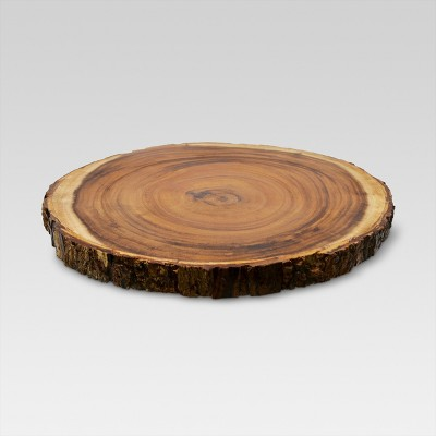 "15"" Acacia Wood Round Serving Platter Brown - Threshold™"