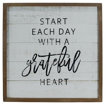 Grateful Wall Décor White (14 x14 )- VIP Home & Garden