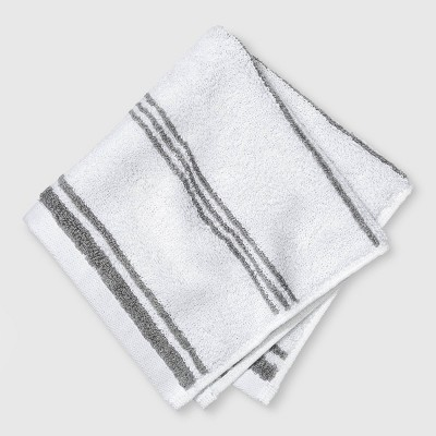 Performance Washcloth Gray Stripe - Threshold™