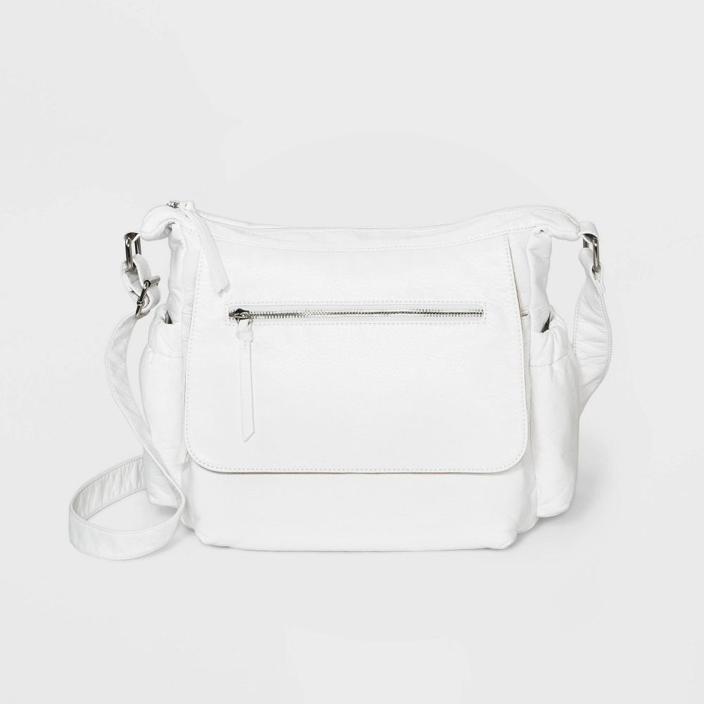 Bueno Zip Closure Crossbody Bag - White