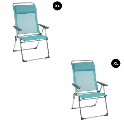 Lafuma Alu Cham XL Folding, Adjustable 5-Position Reclining Outdoor Mesh Sling Chair for Camping, Beach, Backyard, and Patio, Lac Blue (Pair)