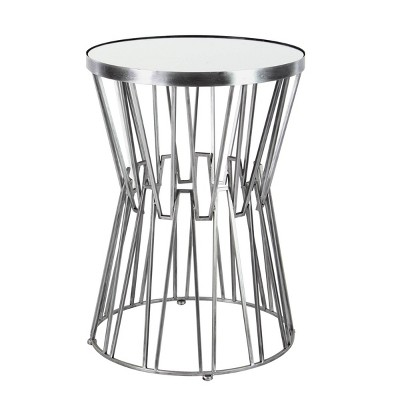 Modern Hourglass Accent Table with Mirrored Top Silver - Olivia & May