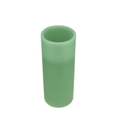 """Northlight 10"""" Sage Green Battery Operated Flameless LED Lighted Flickering Wax Christmas Pillar Candle"""