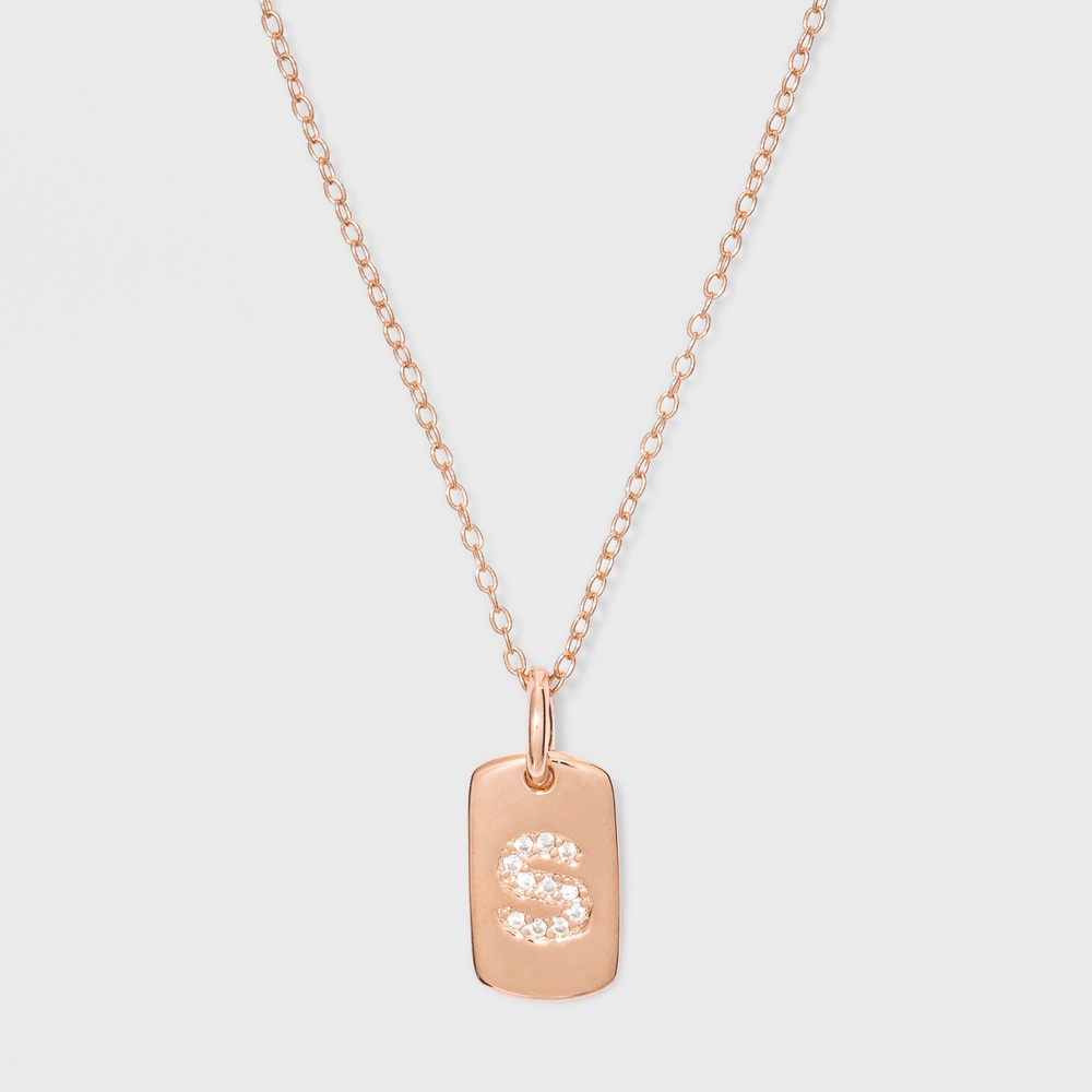 Sterling Silver Initial S Cubic Zirconia Necklace - A New Day Rose Gold, Size: Small, Rose Gold - S