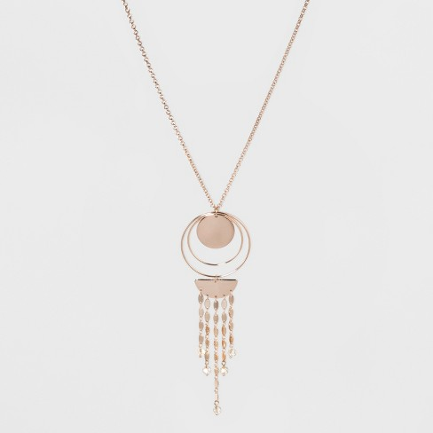 Circles and Chain Long Necklace - A New Day™ Rose Gold - image 1 of 2