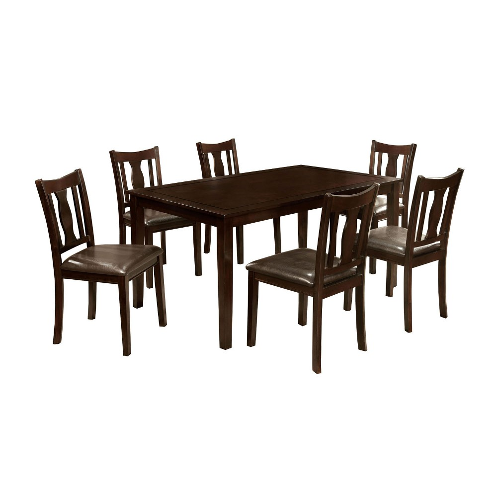 ioHomes 7pcs Dining Table Set Wood/Espresso (Brown)
