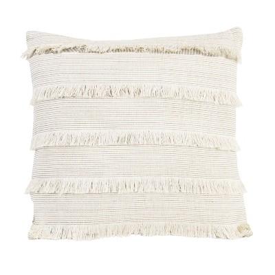 "18""x18"" Hillie Fringe Square Throw Pillow Egret Bronze - Décor Therapy"