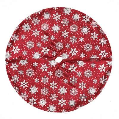 "Northlight 20"" Red and White Glitter Snowflake Mini Christmas Tree Skirt"