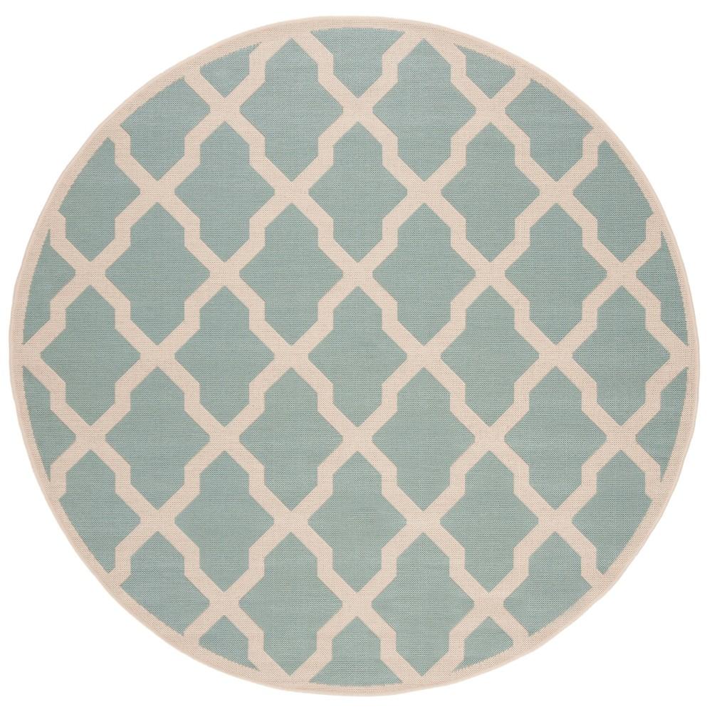 67 Geometric Loomed Round Area Rug Aqua/Cream - Safavieh Top