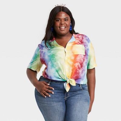 Pride Gender Inclusive Adult Tie-Dye Rainbow Button-Down Camp Shirt