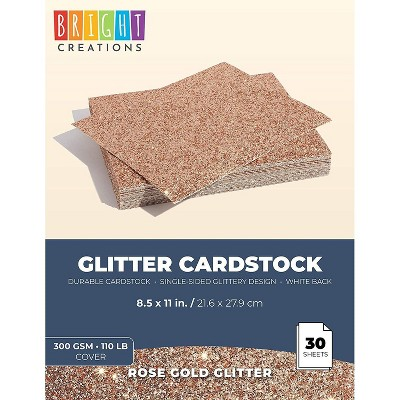 Bright Creations Rose Gold Glitter Cardstock Paper (30 Sheets) 8.5 x 11 Inches