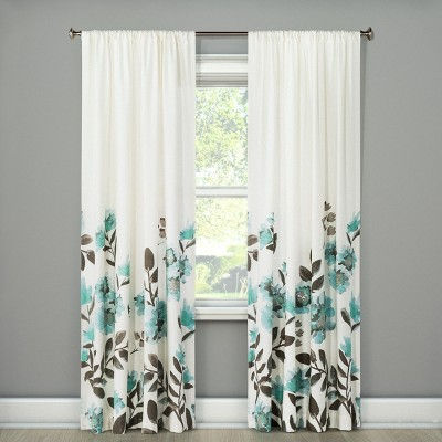 Climbing Floral Window Curtain Panel Blue (54 x84 )- Threshold™