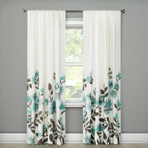 Climbing Floral Window Curtain Panel - Threshold™ - image 1 of 3