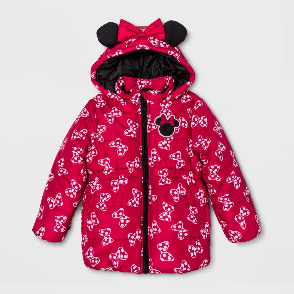 Girls' Minnie Mouse Puffer Jacket - Red 6