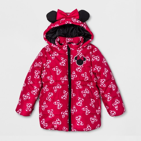 ece7766aa5b1 Girls  Minnie Mouse Puffer Jacket - Red   Target