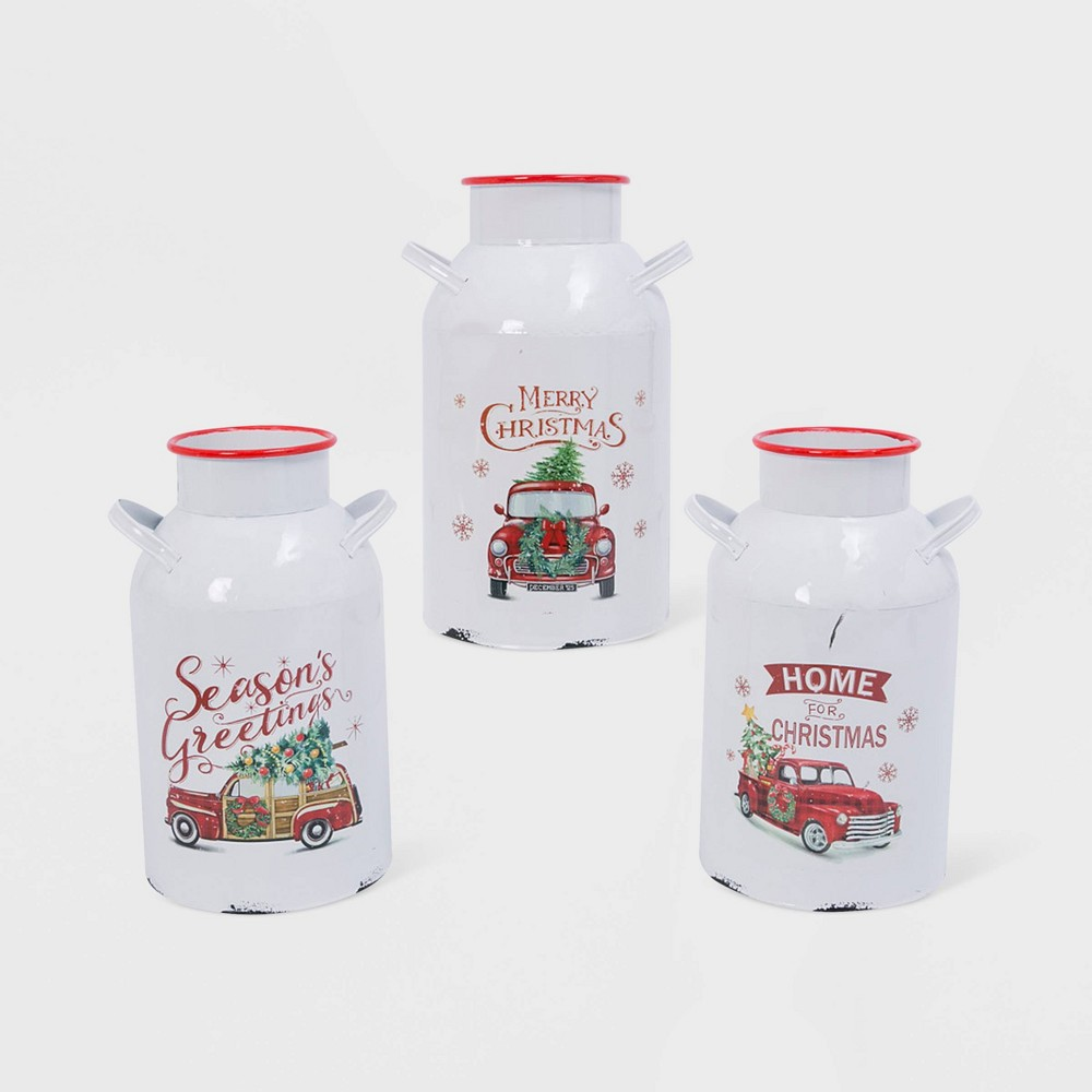 "Image of ""13.75""""/3ct Metal Holiday Milk Can Decorative Figurine Set - Gerson International"""