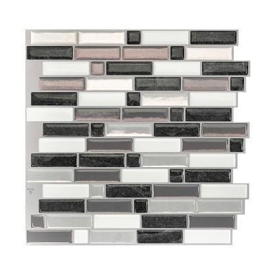 "Smart Tiles 3D Peel and Stick Backsplash 4 Sheets of 9.73"" x 9.36"" Kitchen and Bathroom Wallpaper Crescendo Modena"