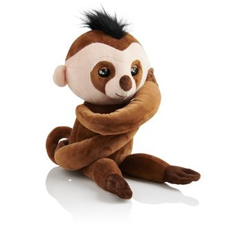 Fingerlings HUGS - Kingsley (Brown) - Advanced Interactive Plush Baby Sloth Pet - by WowWee