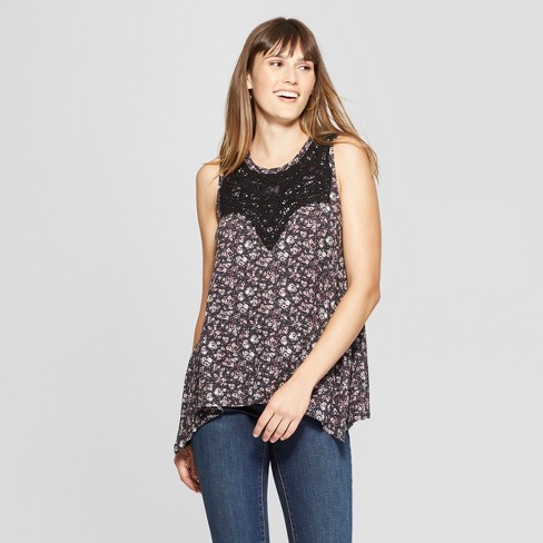 Women's Floral Print Crochet Knit Tank Top - Knox Rose™ Black XS - image 1 of 2