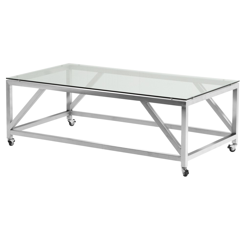 Armen Living Enessa Contemporary Rectangular Coffee Table with Wheels Brushed Stainless Steel