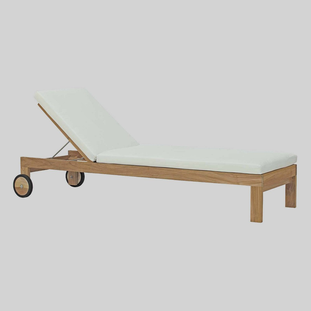 Upland Teak Outdoor Patio Chaise Lounge - Natural White - Modway