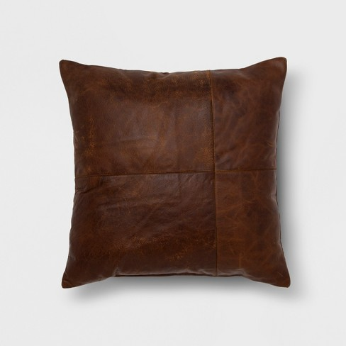 Genuine Leather Square Throw Pillow Brown - Threshold™ - image 1 of 3