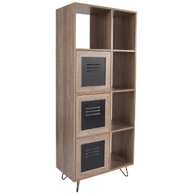 "Flash Furniture Woodridge Collection 63""H 5 Cube Storage Organizer Bookcase with Metal Cabinet Doors in Rustic Wood Grain Finish"