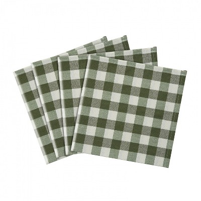 Kate Aurora Country Living 4 Pack Gingham Plaid Checkered Country Farmhouse Napkins