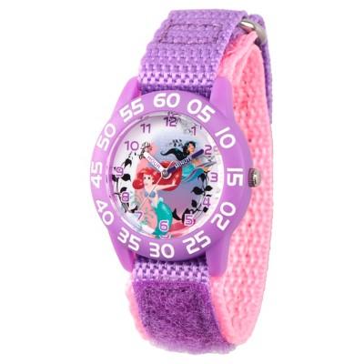 Girls' Disney Princess Ariel and Jasmine Purple Plastic Time Teacher Watch - Purple