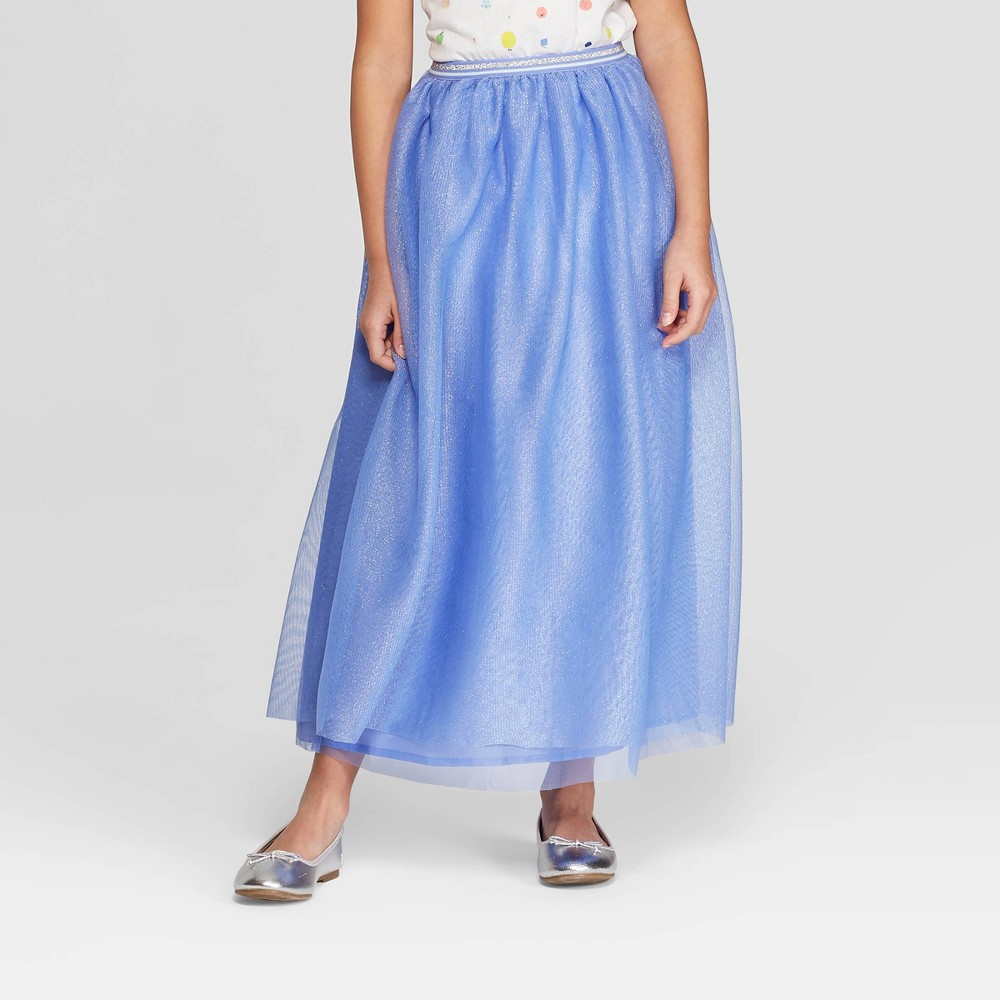 Girls' Tulle Maxi Skirt - Cat & Jack Periwinkle XL, Blue