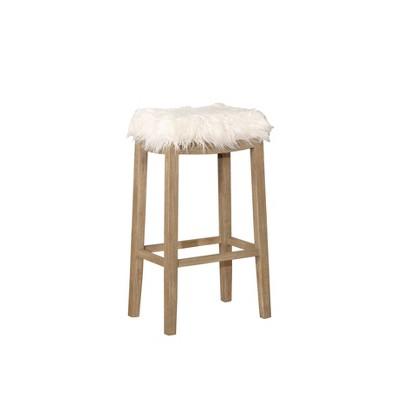 Peachy Claridge Faux Flokati Bar Stool White Linon Brickseek Unemploymentrelief Wooden Chair Designs For Living Room Unemploymentrelieforg
