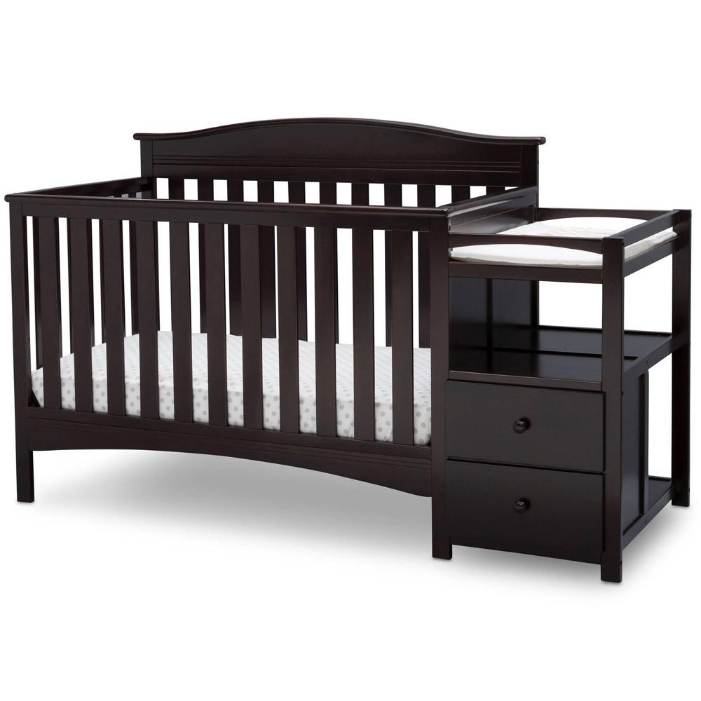 Image of Delta Children Birkley Convertible 4-in-1 Crib and Changer - Dark Chocolate