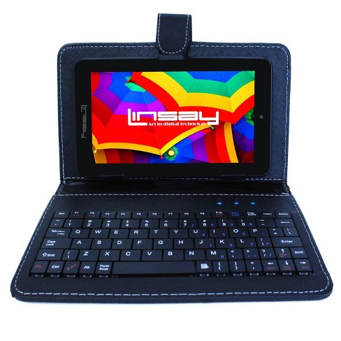 """LINSAY 7"""" HD Quad Core Tablet with Black Keyboard Case 16GB - image 1 of 3"""