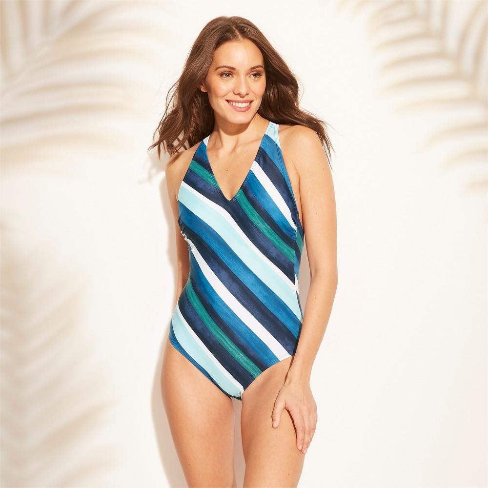 32a57204c2c Womens Strappy Back One Piece Swimsuit Kona Sol Blue Stripe XS