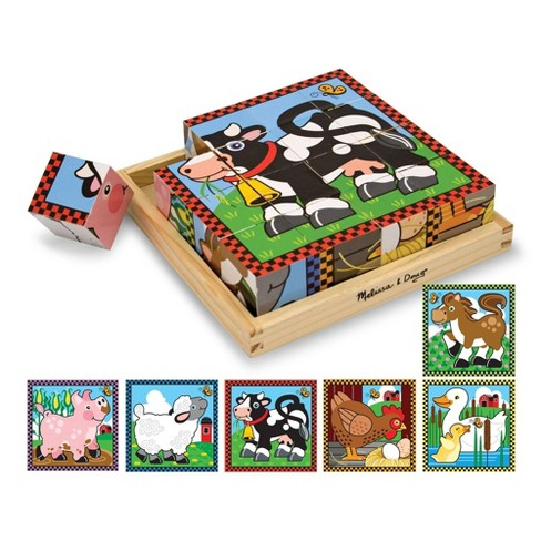385f75f3c0c1 Melissa   Doug® Farm Wooden Cube Puzzle With Storage Tray - 6 Puzzles In 1  (16pc)   Target