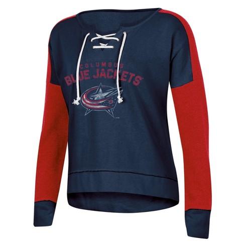 NHL Columbus Blue Jackets Women's Warming House Open Neck Fleece Sweatshirt - image 1 of 1