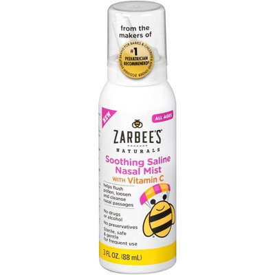 Zarbee's Naturals Soothing Saline Nasal Mist with Vitamin C – 3 fl oz