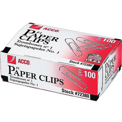 ACCO Economy #1 Paper Clips Silver 100/Box 10 Boxes/Pack (A7072380) 126474