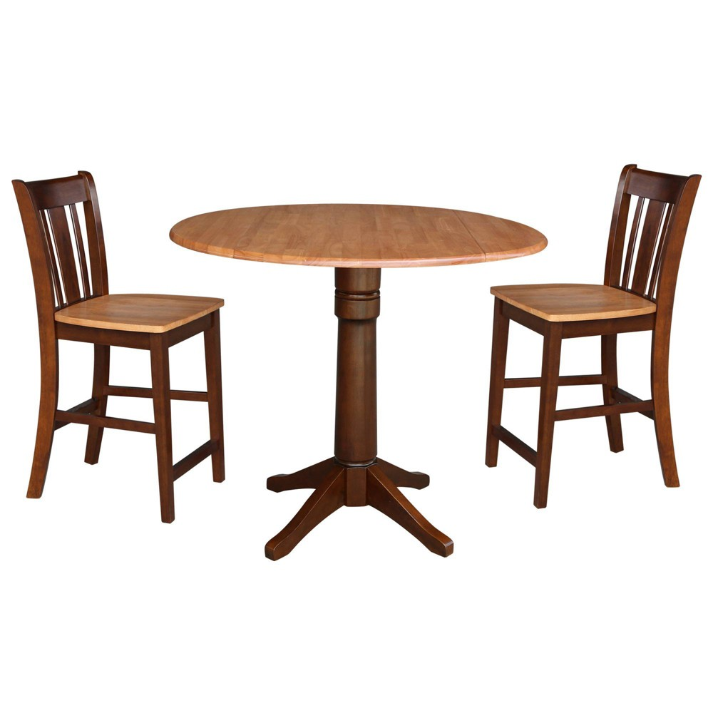 "Image of ""36.3"""" Round Pedestal Gathering Height Table with 2 Counter Height Stools Cinnamon/Espresso - International Concepts"""