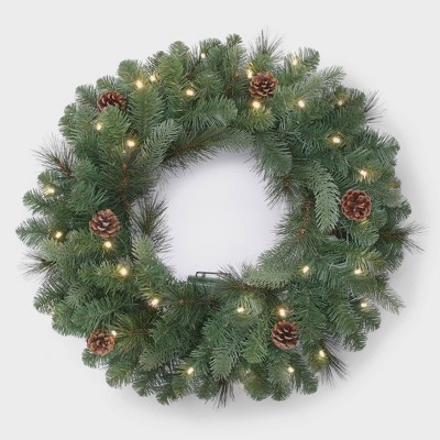 Philips 28in Christmas Decorated Pre-lit Artificial Pine Wreath White LED lights